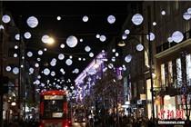 伦敦街头悬挂唯美圣诞灯饰迎圣诞