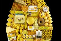 """瑞典超市 HEMKOP""""五色水滴""""造型的食品展示"""