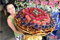 重庆一花店售24K黄金玫瑰 永不凋谢