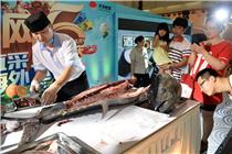北京商场现场解剖价值16万金枪鱼