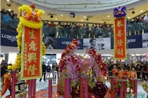 中港城春节「花开富贵彩绘展」美陈装饰