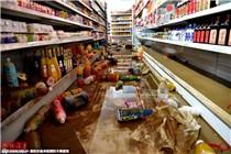 """台风""""灿鸿""""过境 浙江部分超市一片狼藉"""