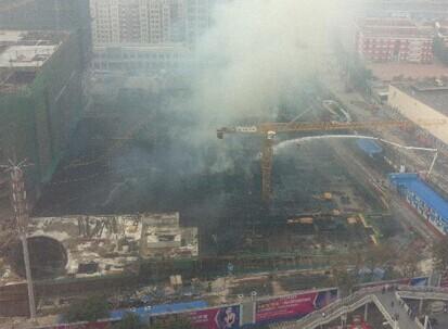 天津在建的红星国际广场地下部分发生火灾
